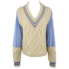 MAISON MARTIN MARGIELA Size L Beige & Blue Cable Knit Panel