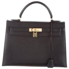 HERMES Kelly 28 Black Leather Gold Top Handle Satchel Tote Shoulder Bag in Box