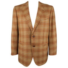 BORRELLI 44 Brown & Gold Plaid Cashmere Sport Coat