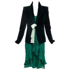 Tom Ford for Yves Saint Laurent Emerald Green Velvet Silk Dress Suit,  Fall 2003