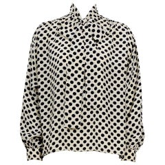Yves Saint Laurent 1970s documented silk black & white dot pussy bow blouse