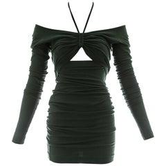 Dolce & Gabbana bottle green cotton jersey figure hugging dress, ca. 1991