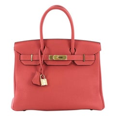Hermes Birkin Handbag Rouge Pivoine Togo With Gold Hardware 30