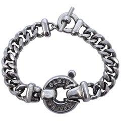 Agatha Paris Silver Tone Curb Link Chain Bracelet with Medallion