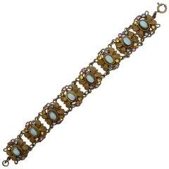 Czech 1930s Gold Tone Aqua Moonglow Multi Coloured Rhinestones Filigree Bracelet