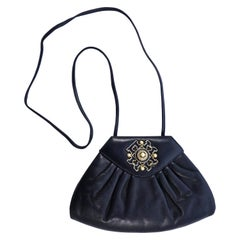 Susan Gail Black Leather Shoulder Bag with Rhinestones Faux Pearls and Enamel
