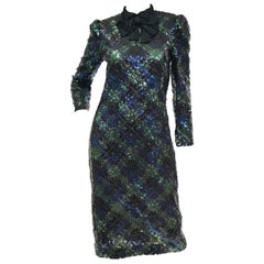 1980s Bill Blass Black, Green and Navy Tartan Sequined Evening Dress