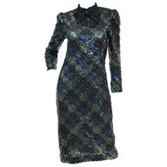 1980s Bill Blass Black and Green Black Watch Tartan Fully Sequined Evening Dress