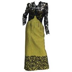 "1980s Oscar de La Renta Golden Green ""Dragon Scale"" Brocade Dress"