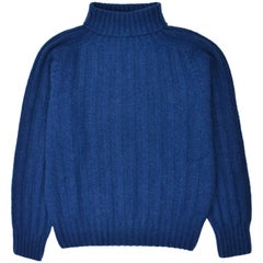 Tom Ford Mens Cashmere Blue Rib Knit Turtleneck Sweater Size IT46/US36~RTL$1450
