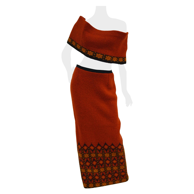 1970s Janus of Norway Red Knit Virgin Wool Skirt and Shrug