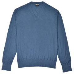 Tom Ford Mens Cashmere Blue V Neck Long Sleeve Sweater Size IT44/US34~RTL$1450