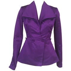 Royal Purple Edwardian Style Silk Faille Jacket by Maggie Norris Couture