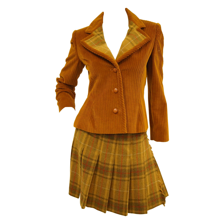 1970s Bill Blass Orange Corduroy and Plaid Pleated Skirt Suit