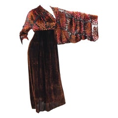 Barbara Bui Devore Red and Ochre Velvet Evening Dress with Wrap Kimono S