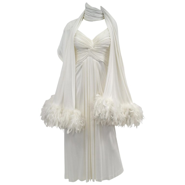 1970s Jill Richards White Knit Grecian Gown with Feather Trim Shawl For Sale