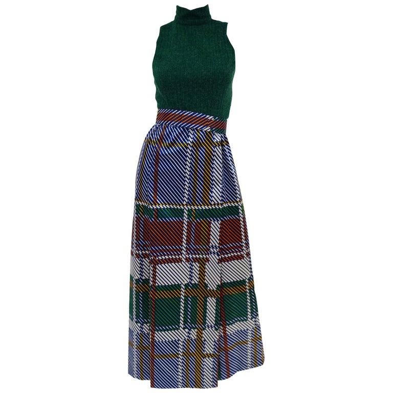 1970s Oscar de la Renta Green Plaid Satin & Knit Dress & Jacket Ensemble For Sale