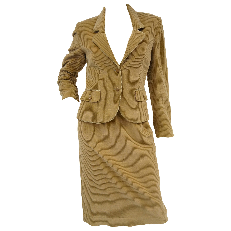1970s Diane Von Furstenberg Tan Corduroy Skirt Suit