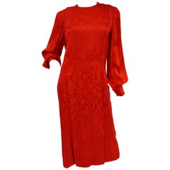 1980s Andre Laug Red Silk Snakeskin Print Dress