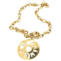 Chanel 1980s Vintage Gold Plated Pendant Necklace / Belt