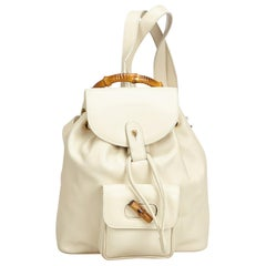 Gucci Cream Bamboo Leather Drawstring Backpack