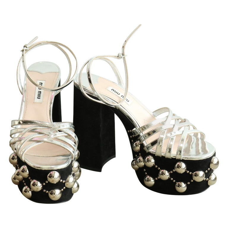 41edafd841c7 Miu Miu Metallic leather and studded suede platform sandals For Sale ...
