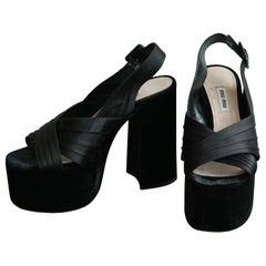 Miu Miu Satin and Velvet Platform Sandal