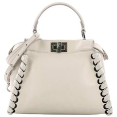 Fendi Peekaboo Handbag Whipstitch Leather Mini