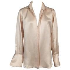 Oscar de la Renta Ivory Silk Shirt Jacket