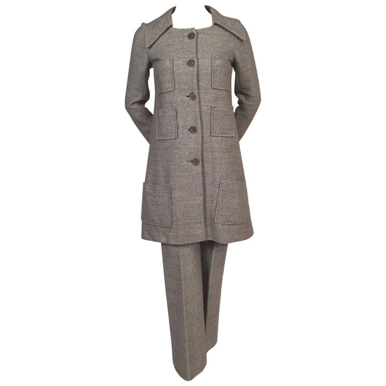1970's Sonia Rykiel Wool Tweed Six Pocket Coat and Matching Trousers For Sale
