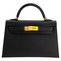 *NEVER USED* Hermes Kelly 20 Mini II 20cm Black Epsom GHW