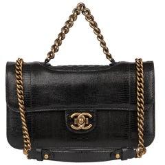 2013 Chanel Black Lizard & Quilted Lambskin Medium Perfect Edge Classic Flap Bag