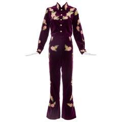 Equestrian Velvet Riding Show Pant-Suit Borealis Prong Set Crystals, Ca. 1970's
