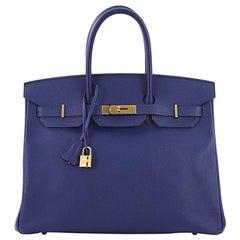 Hermes Birkin Handbag Electric Blue Epsom with Gold Hardware 35