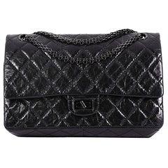 Chanel So Black Reissue 2.55 Handbag Quilted Glazed Calfskin 226