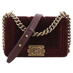 Chanel Boy Flap Bag Chevron Velvet Small
