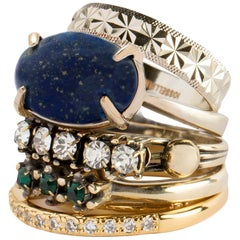 Iosselliani Mixed Gold Lapis Ring Set