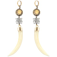 Iosselliani Horn Shaped Shell Earring pair
