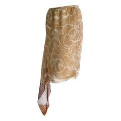 CHANEL beige and white, foulard on side, silk skirt - Unworn, New