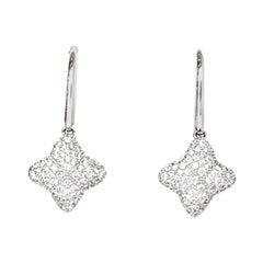 David Yurman 18K White Gold & Diamond Quatrefoil Drop Earrings rt. $2,950