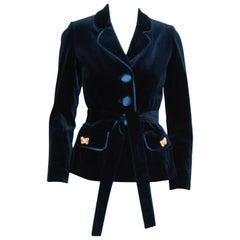 Paola Quadretti Blue Velvet Cotton & Silk Jacket with Silk Sash