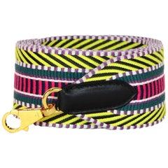 Hermes '18 Multicolor Toile Canvas Noir Leather Sangle Cavale 50mm Bag Strap