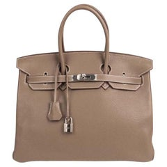 Hermes Etoupe Clemence Palladium Hardware Birkin 35 Bag