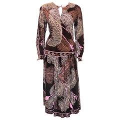 Emilio Pucci Brown & Pink Arrow Print Silk & Wool Two Piece Dress