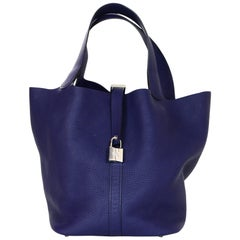 Hermes 2018 Navy Blue Taurillon Clemence Leather 26CM Picotin Lock GM Bag W/ PHW