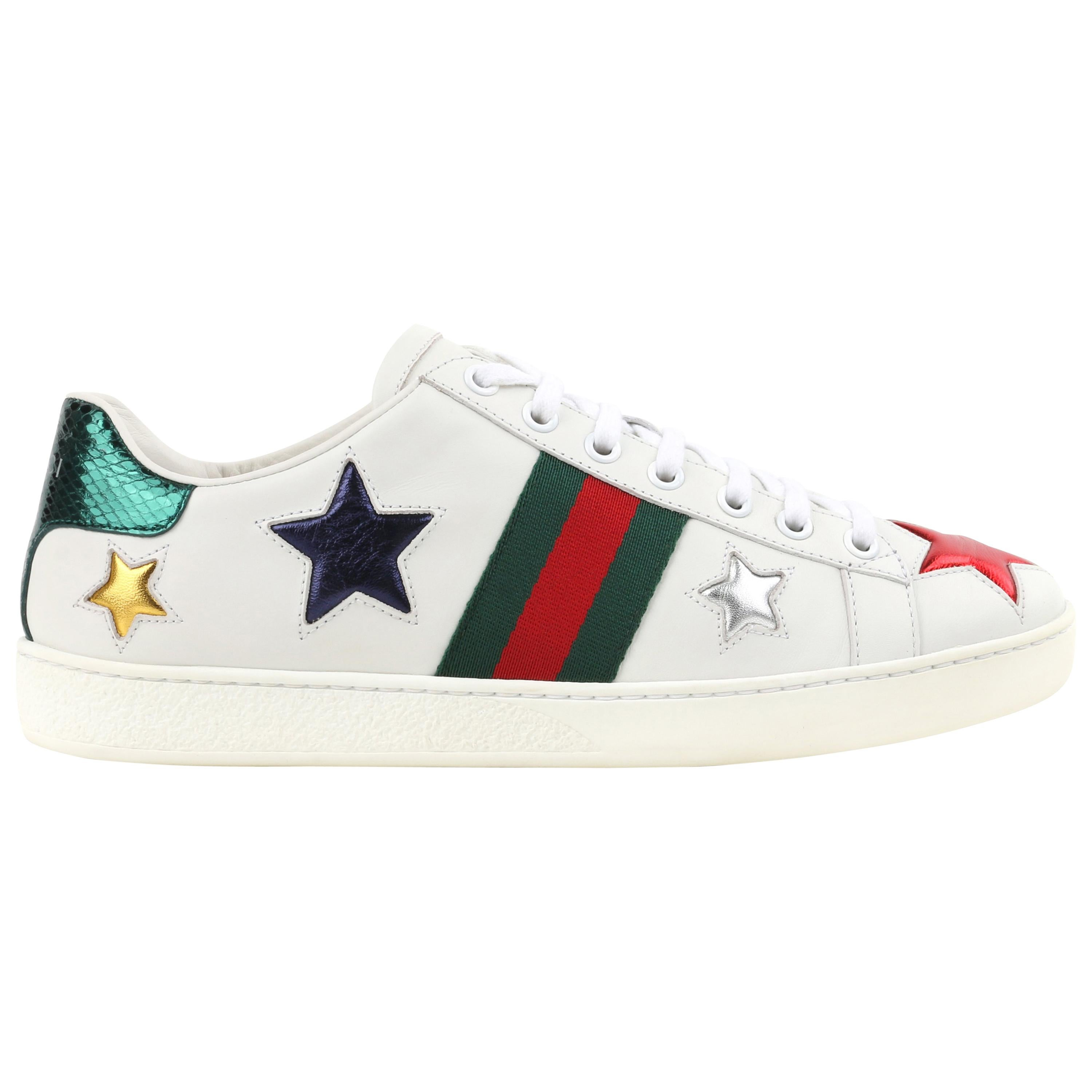 """GUCCI Resort 2017 """"Ace"""" White Leather Metallic Star Low-Top Sneakers"""