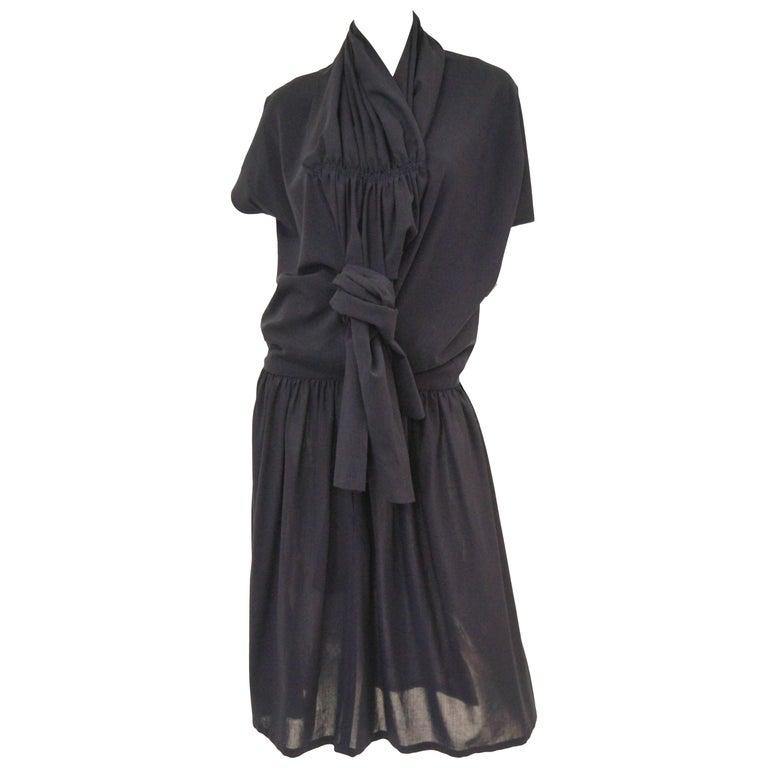 1990 Yohji Yamamoto Avant Garde Open Back Wool Dress  For Sale