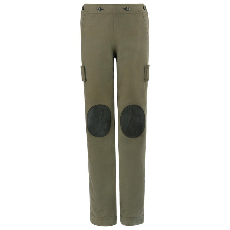 "ALEXANDER McQUEEN A/W 2003 ""Scanners"" Olive Green Leather Knee Pad Cargo Pants For Sale"