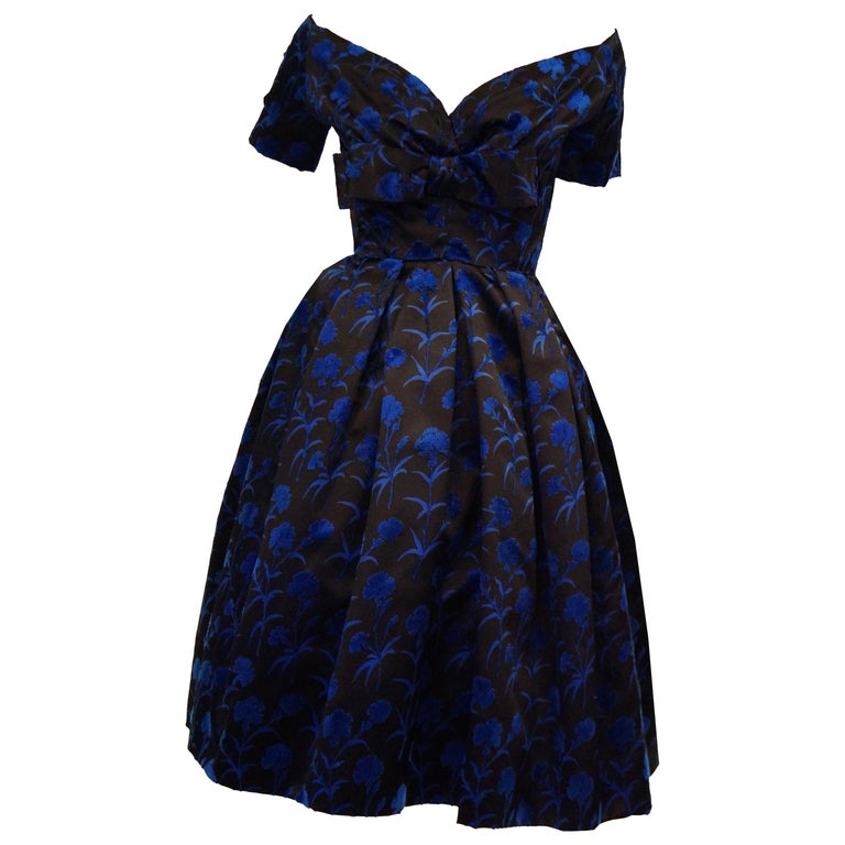 Important 1950s Christian Dior Couture Blue & Black Silk & Velvet New Look Dress For Sale
