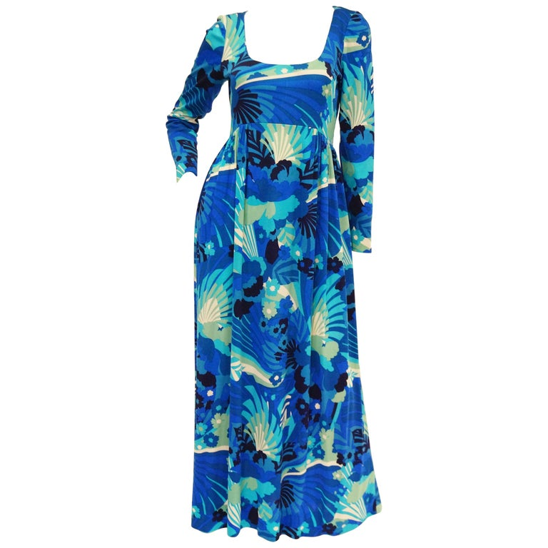 1970s Victor Costa Funky Blue Floral Knit Maxi Dress For Sale